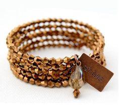 Shining Bronze Memory Wire Bracelet