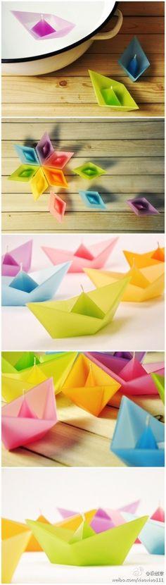 折纸帆船水上漂蜡烛,把美好的祝福点亮~~   Barcos