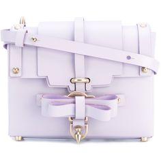 Niels Peeraer bow buckle crossbody bag ($600) ❤ liked on Polyvore featuring bags, handbags, shoulder bags, purple, purple crossbody, crossbody purses, buckle handbags, cross body and buckle purses