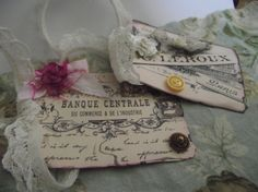 French Inspired  Gift  Cards  Distress  Adorn With Pink by mslizz, $6.50