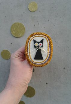 Cat person gift / Black cat brooch / textile and by Percee on Etsy