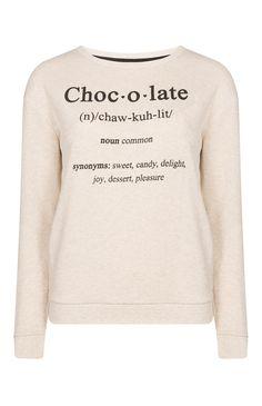 Primark - Cream Chocolate Slogan Sweat Top