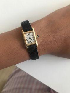 Cartier Mini Tank Louis Gold / Black Leather Wrist Watch for Women Cartier Gold Watch, Vintage Cartier Watch, Cartier Watches Women, Vintage Watches Women, Gold Watches, Cartier Panthere, Tank Watch, Cartier Santos, Cartier Tank
