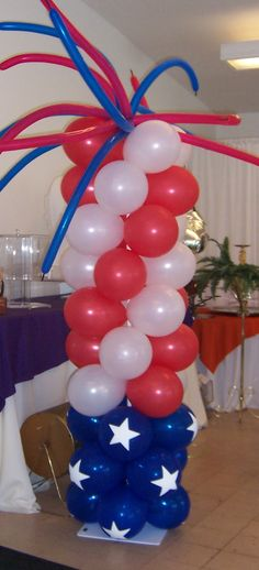 Red White Blue floats | Patriotic Column Rainbow Column Pirate ship column with attacking ...