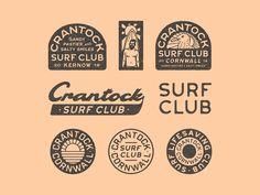 Crantock Surf Club II by Luke Harrison Branding Design, Logo Design, Graphic Design, Smile Club, Surf Logo, Identity, Surf Brands, Surf Design, California Surf