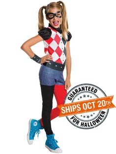 Check out DC Superhero Girls Harley Quinn Costume - DC Superhero Girls Costumes from Wholesale Halloween Costumes