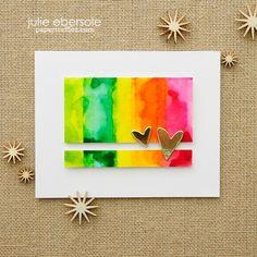 Watercolor Block Stamping - Rainbows & Gold Hearts