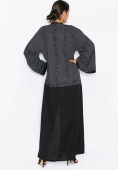Shop Hayas closet black Colourblock Embellished Abaya for Women in UAE