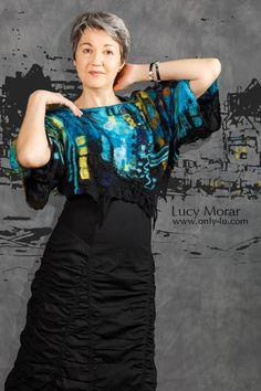 Nightown / Art to Wear / Nuno Felt Top  by Lucy Morar  www.only-lu.com