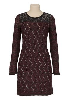 Love the mix in textures here!    Long Sleeved Lace Top Sweater Dress available at #Maurices