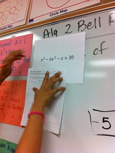 """Polynomial Factoring using synthetic division scavenger hunt. Students start at one """"answer"""", get the first problem they need to solve, and move on until they complete their circuit. I did this with my classes today and the students had a blast!"""