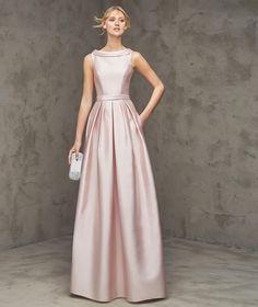 Formal+Bateau+Neck+Floor+Length+Pink+Satin+A+Line+Evening+Dress+Cpr0056