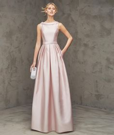 Formal+Bateau+Neck+Floor+Length+Pink+Satin+A+Line+Evening+Dress+Cpr0056