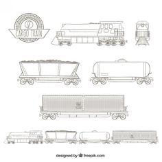 Sketchy cargo train Free Vector