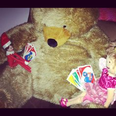 Elf on the Shelf Idea: Just Elfy & Pinkalicious playin' a friendly game of UNO. #elfontheshelf