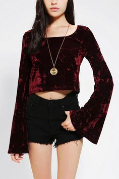 Staring At Stars Velvet Bell-Sleeve Cropped Top--with a leather mini <3