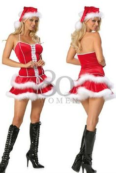 38ccdb3671f Double High quality red women Sexy christmas costume ladies santa outfit  white dress hat Festival wear