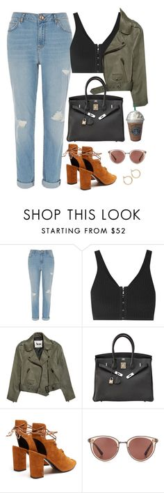 """✨"" by nadiaamrc ❤ liked on Polyvore featuring River Island, T By Alexander Wang, Acne Studios, Hermès, Joes, Yves Saint Laurent, Oliver Peoples and Nordstrom"