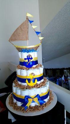 Sailor themed diaper cake