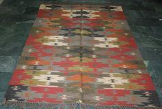 "Vintage Turkish Antalya Kilim Rug 152*243cm  Area Rug Kelim Carpet Rug60""x96""Inc #Handmade #Kilim"