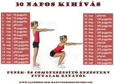 30 napos kihívás Gym Workout Tips, Fitness Workout For Women, Fitness Tips, Health Fitness, 30 Day Squat Challenge, Thigh Exercises, Keep Fit, Nalu, Squats