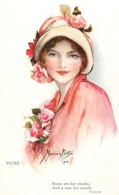 Roses are her cheeks, and a rose her mouth. Tennyson. Beautiful pink vintage lady.
