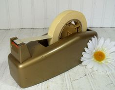 heavy duty gold tape dispenser vintage scotch 3m company mid century office equipment century office equipment
