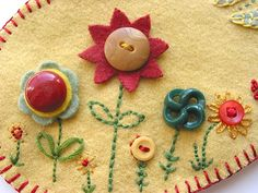 red_gold_flowers2 Button embroidery by Green Kitchen on Flickr