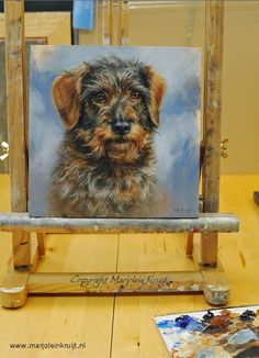 teckel portret honden in opdracht schilderij dierportret dierenportret Marjolein Kruijt