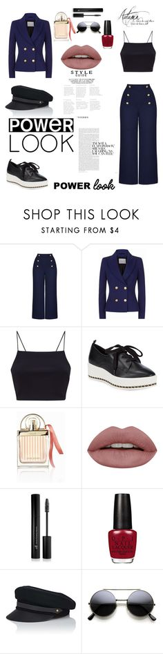 """""""Nautical Outfit"""" by mariatibirna ❤ liked on Polyvore featuring Draper James, Pierre Balmain, Karl Lagerfeld, Chloé, Forever 21 and Lola"""