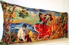 Large  Unique Vintage Silk Needlepoint Tapestry by Retrocollects