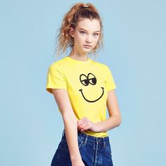 Lazy oaf lemon yellow smile Cartoon Print  Short Sleeved T-shirt Harajuku eye  T-shirt  Punk Tshirt Kawaii  top