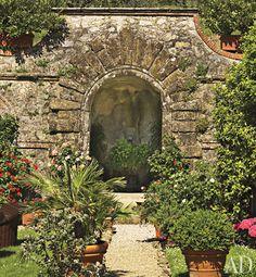 A grotto fountain in the garden of Dede Pratesi's 17th-Century Family Villa in Tuscany
