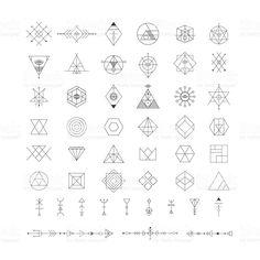 トレンディな幾何学模様のアイコンをベクトルします。Alchemy 記号のコレクションです。 ロイヤリティフリーのイラスト素材