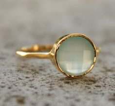 beautiful- Gold Chalcedony Ring - Round Cut - Vermeil Gold Stacking Ring