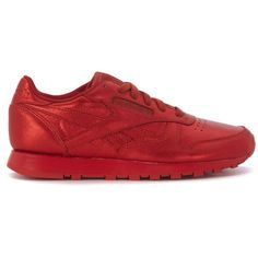 Sneaker Reebok X Face Stockholm Classic In Pelle Laminata Rossa (£67) ❤ liked on Polyvore featuring shoes, sneakers, rosso, reebok shoes, reebok, reebok footwear, reebok trainers and reebok sneakers