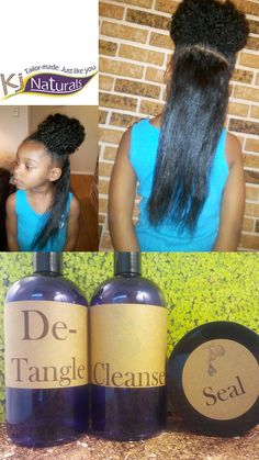 Natural Hair Growth Product Kit for Adults & Kids: 40 oz, Detangler, Cleanser/Conditioner and Moisturizer for Coily, Thick and Curly Hair