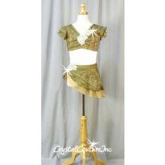 Khaki Green/Brown/Beige Top and Skirt/Trunk - Swarovski Rhinestones - Size YL