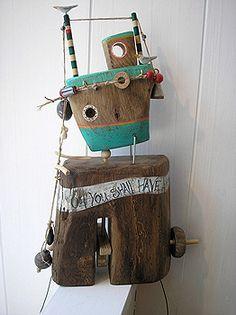 Automata & Mechanical Toys by Jane Ryan Wooden Art, Wooden Crafts, Diy Crafts, Handmade Home Decor, Handmade Wooden, Home Decor Wall Art, Art Decor, Seaside Decor, Kinetic Art