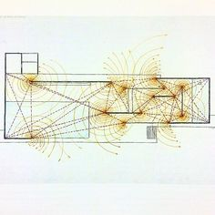 """Paul Rudolph, drawing of the Barcelona Pavilion (1986). """"Circular flow of space at ends of panels."""" #minimalism"""