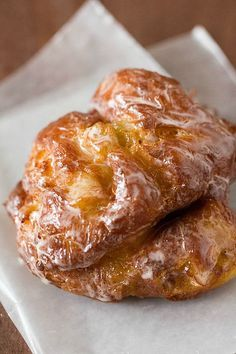 Apple Fritter Doughnuts. Reminds me of my Grampy. Looks like you'd need a day just to make these bad boys though!