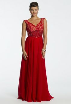 Beautiful spectrum's of gem colored AB beading adorn this fiery long gown giving you just the right amount of embellishment for a mother of the bride look! Certainly this gorgeous dress can steal the spotlight as a guest of wedding or holiday dress along with being a number one selection for a blushing mother of the bride. An all lace empire bodice with shoulder straps and multicolored beading are the star features of this glamorous long dress. A dramatic chiffon skirt sweeps the floor exquisit…