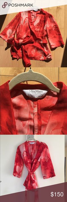 Gorgeous Max Mara Blouse. size 10 Like new- worn maybe couple times. 100 % silk. Great quality. Make a statement in this piece. Great with white pants or skirt for spring and summer MaxMara Tops Blouses