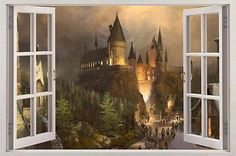 Hogwarts Harry Potter Window View Decal Graphic WALL STICKER Art Mural Huge -- You can find more details by visiting the image link. (This is an affiliate link) Window Mural, Window View, Window Decals, Wall Decal, 3d Wall, Harry Potter Bedroom, Harry Potter Decor, Harry Potter Wall Stickers, Harry Potter Classroom