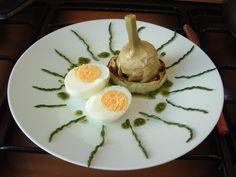 Uovo  melenzana carciofo pesto alla menta  Gino D'Aquino