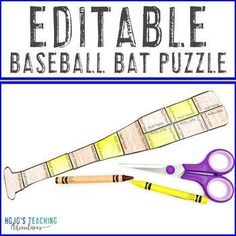 EDITABLE Baseball Bat Puzzle | Create your own Sports Decor Classroom Activities | 1st, 2nd, 3rd, 4th, 5th grade, Activities, English Language Arts, Fun Stuff, Games, Homeschool, Math, Summer Sports Activities, Classroom Activities, English Language, Language Arts, Sports Theme Classroom, Reading Recovery, Ell Students, Sports Decor, Critical Thinking Skills
