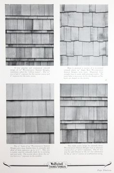Shingle installation patterns in Weatherbest Stained Shingle booklet, 1925.