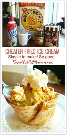 Cheater Fried Ice Cream -  cinnamon sugar bowls are made from small flour tortillas.