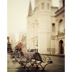 Jackson Square - New Orleans Art Print, Color Photography, Spring Fog, Urban Wall Art, Bench, Beige, Brown, Spring