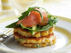 Crispy and golden, these tasty fritters made with sweet, juicy corn and creamy ricotta are beautiful served topped with smoked salmon and avocado for a relaxed weekend breakfast or brunch.